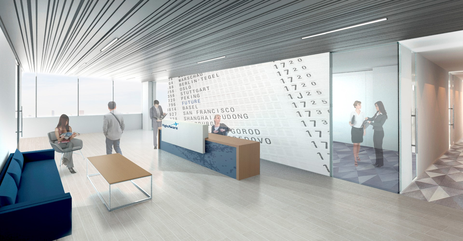 Rendering of lobby in FlightAware office - 11 Greenway Plaza, Houston, TX 77046