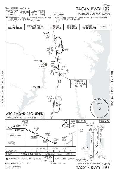 Joint Base Andrews Camp Springs, MD (KADW): TACAN RWY 19R (IAP)