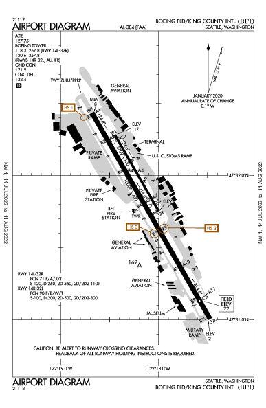 Boeing Field Intl سياتل، واشنطن (KBFI): AIRPORT DIAGRAM (APD)
