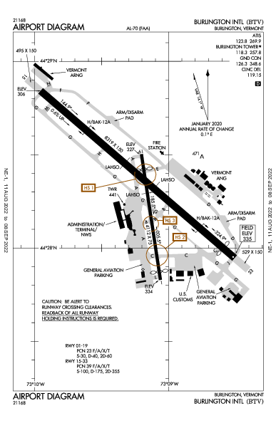 Burlington Intl 벌링턴, 버몬트 주 (KBTV): AIRPORT DIAGRAM (APD)