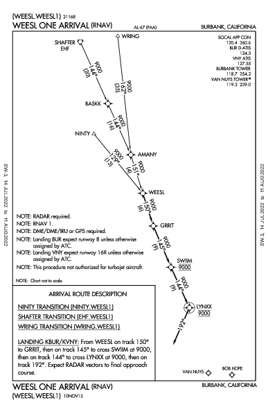 Bob Hope Burbank, CA (KBUR): WEESL ONE (RNAV) (STAR)
