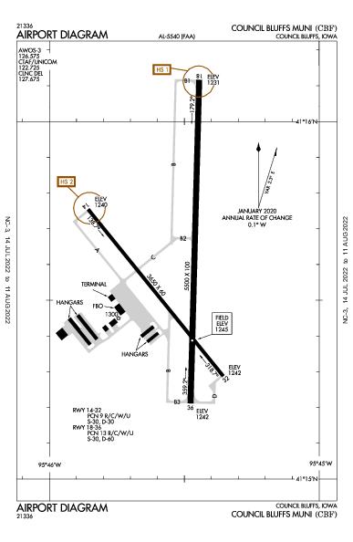Council Bluffs Muni Council Bluffs, IA (KCBF): AIRPORT DIAGRAM (APD)