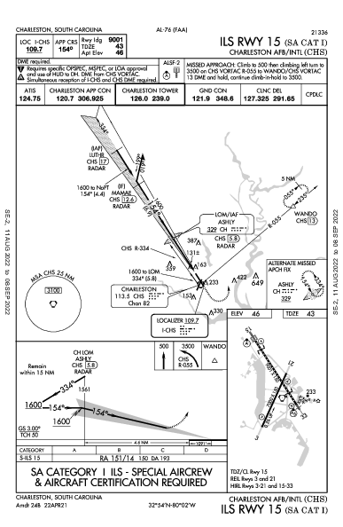 Charleston Afb/Intl Charleston, SC (KCHS): ILS RWY 15 (SA CAT I) (IAP)