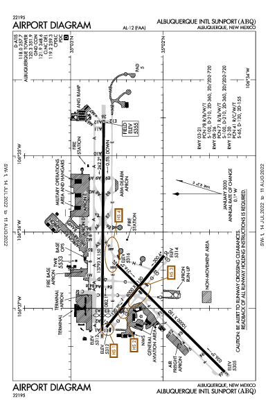 アルバカーキ国際空港 Airport (Albuquerque, NM): KABQ Airport Diagram