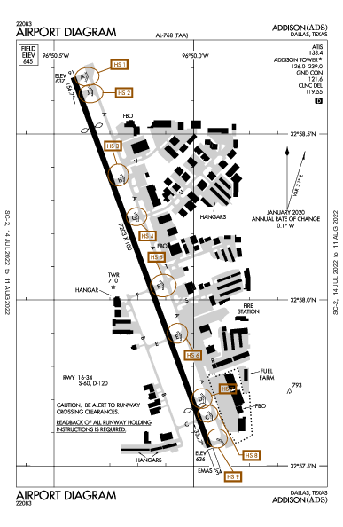 Addison Airport (Dallas, TX): KADS Airport Diagram