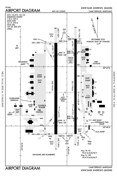 Joint Base Andrews Airport (Camp Springs, MD): KADW Airport Diagram
