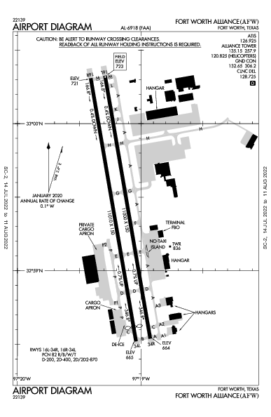 Fort Worth Alliance Airport (Форт-Уэрт): KAFW Airport Diagram