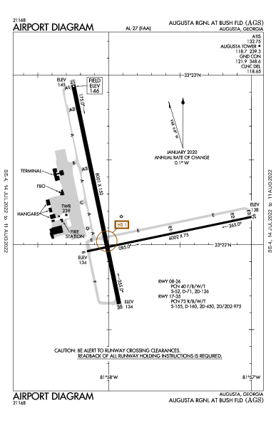 Augusta Regional Airport (أوغستا، جورجيا): KAGS Airport Diagram