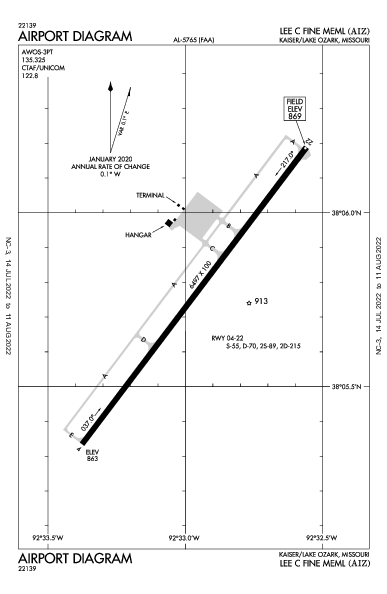 Lee C Fine Memorial Airport (Kaiser/Lake Ozark, MO): KAIZ Airport Diagram