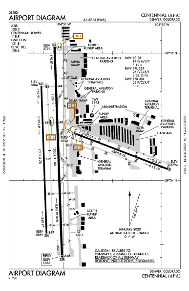 Centennial Airport (Denver, CO): KAPA Airport Diagram