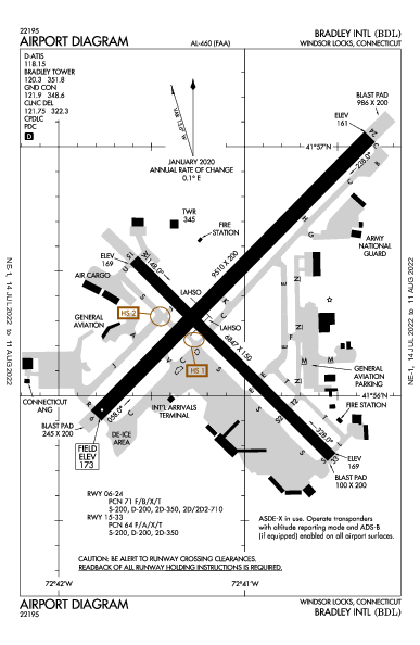 布拉德利國際機場 Airport (Windsor Locks, CT): KBDL Airport Diagram