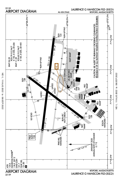 Laurence G Hanscom Fld Airport (Bedford, MA): KBED Airport Diagram