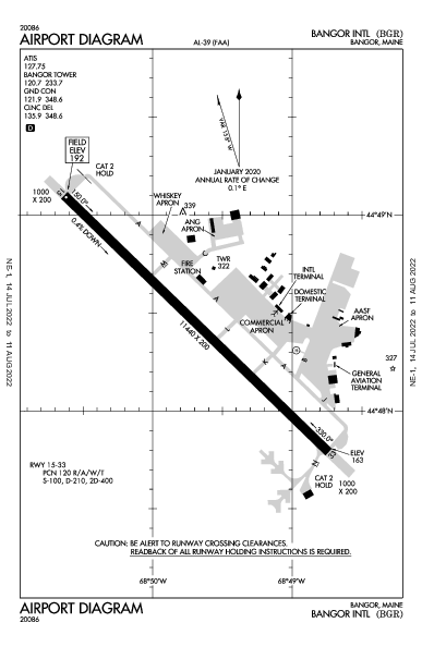 Bangor Intl Airport (Бангор, Мэн): KBGR Airport Diagram