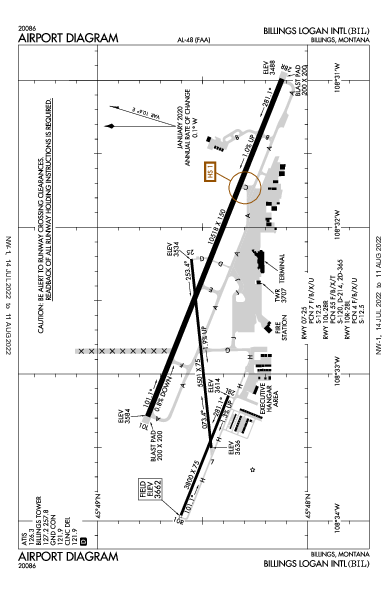 Billings Logan Intl Airport (Billings, MT): KBIL Airport Diagram