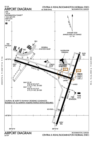 Cent II Rgnl Airport (Bloomington/Normal, IL): KBMI Airport Diagram