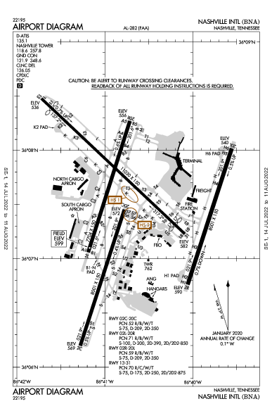 Nashville Intl Airport (Nashville, TN): KBNA Airport Diagram