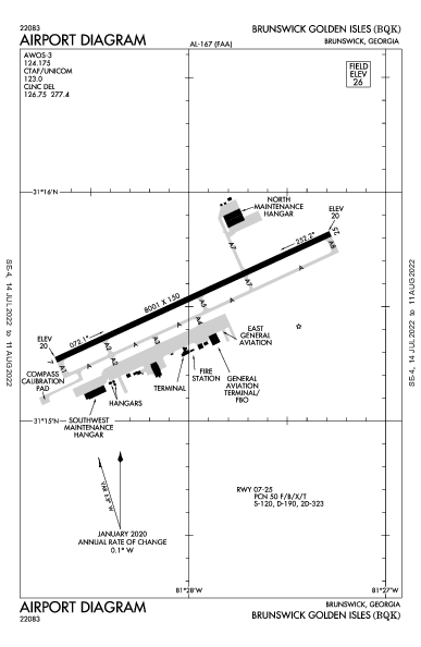 Brunswick Golden Isles Airport (Brunswick, GA): KBQK Airport Diagram