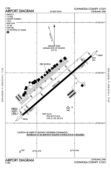 Cuyahoga County Airport (クリーブランド, オハイオ州): KCGF Airport Diagram