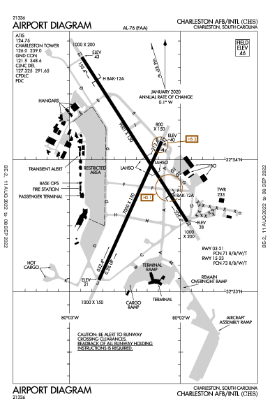 Charleston Afb/Intl Airport (チャールストン, サウスカロライナ州): KCHS Airport Diagram
