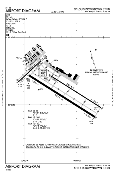 St Louis Downtown Airport (Cahokia/St Louis, IL): KCPS Airport Diagram