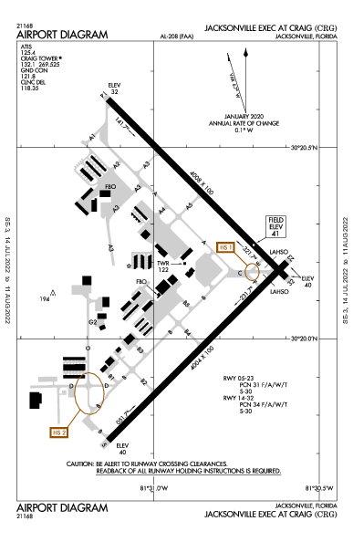 Jacksonville Executive At Craig Airport (Jacksonville, FL): KCRG Airport Diagram