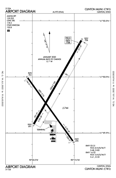 Clinton Muni Airport (Clinton, IA): KCWI Airport Diagram
