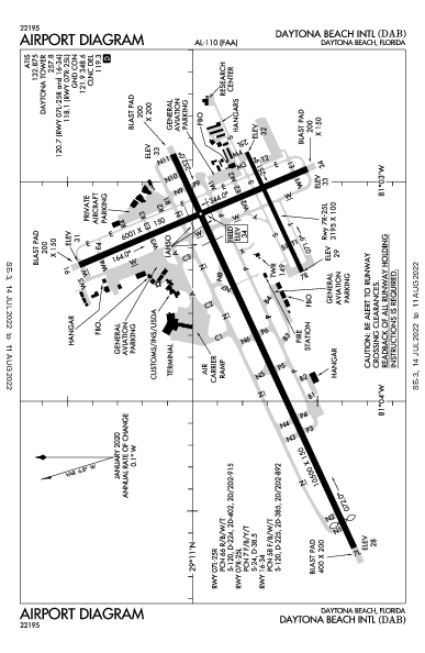Daytona Beach Intl Airport (Daytona Beach, FL): KDAB Airport Diagram