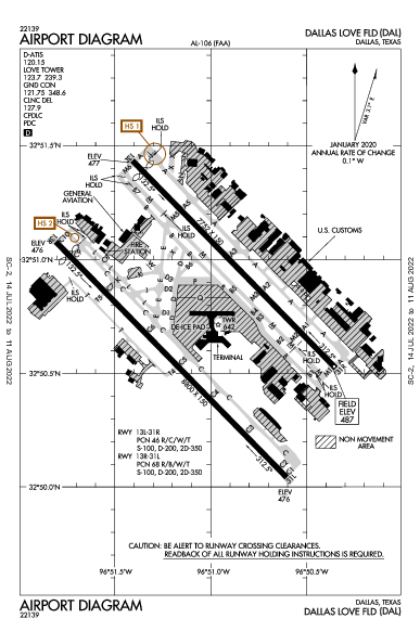 Dallas Love Field Airport (댈러스): KDAL Airport Diagram