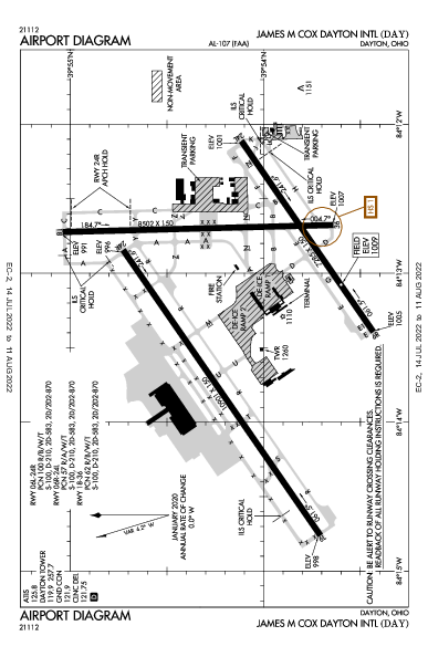 James M Cox Dayton Intl Airport (デイトン, オハイオ州): KDAY Airport Diagram
