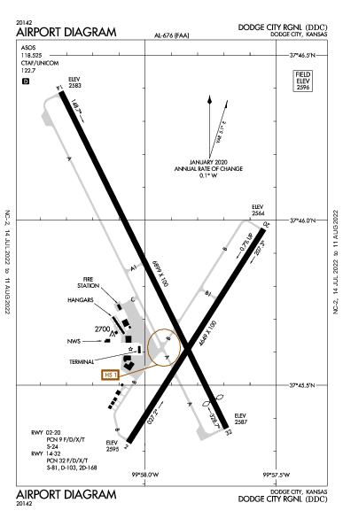 Dodge City Rgnl Airport (ドッジシティ, カンザス州): KDDC Airport Diagram