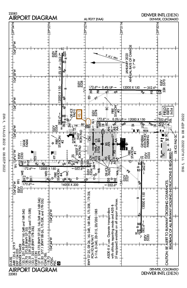 Денвер Airport (Denver, CO): KDEN Airport Diagram