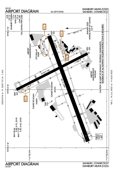 Danbury Muni Airport (丹伯里, 康涅狄格州): KDXR Airport Diagram
