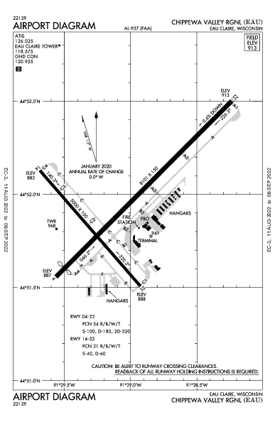 Chippewa Valley Rgnl Airport (Eau Claire, WI): KEAU Airport Diagram