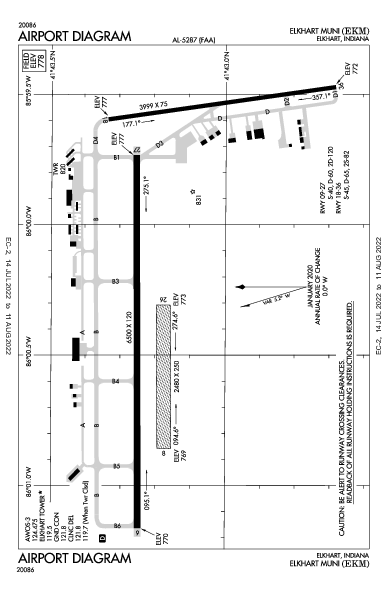 Elkhart Muni Airport (Elkhart, IN): KEKM Airport Diagram
