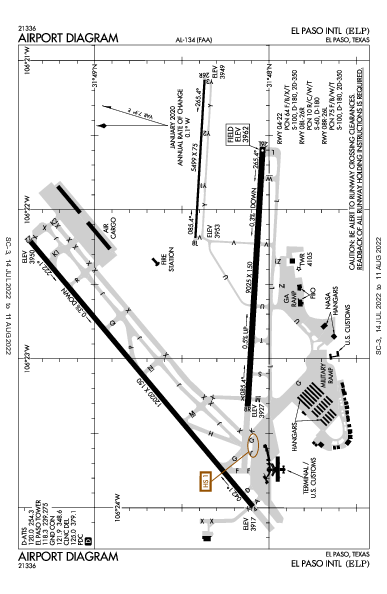El Paso Intl Airport (엘패소): KELP Airport Diagram