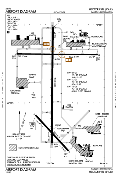 ヘクター国際空港 Airport (Fargo, ND): KFAR Airport Diagram
