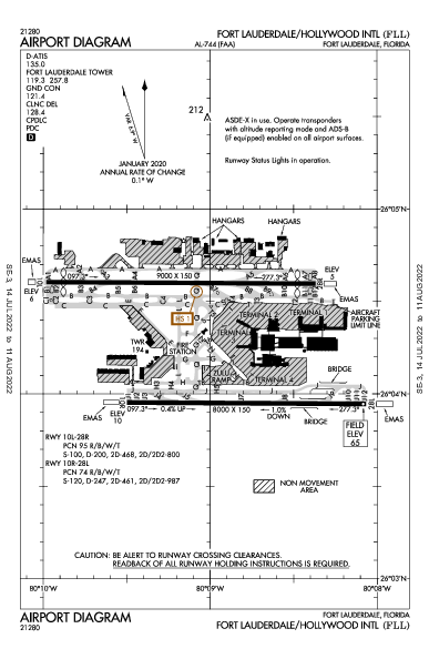 Hollywood Int'l Airport (Fort Lauderdale, FL): KFLL Airport Diagram