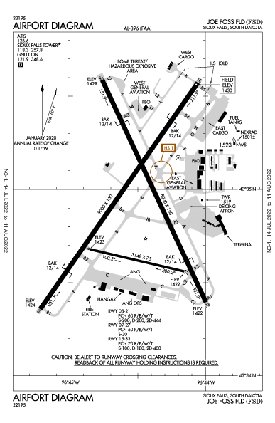 Joe Foss Field Airport (סו פולס): KFSD Airport Diagram