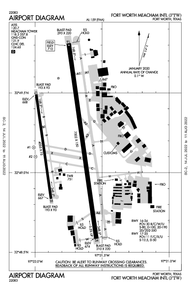 Fort Worth Meacham Intl Airport (Fort Worth, TX): KFTW Airport Diagram