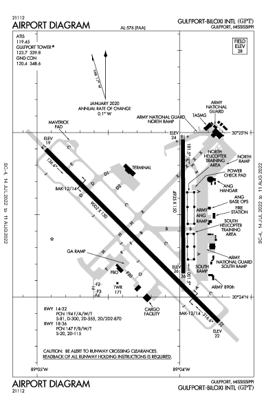 Gulfport-Biloxi Intl Airport (Gulfport, MS): KGPT Airport Diagram