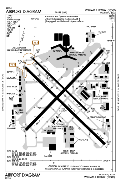 William P Hobby Airport (Houston, TX): KHOU Airport Diagram