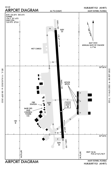 Hurlburt Field Airport (Mary Esther, FL): KHRT Airport Diagram