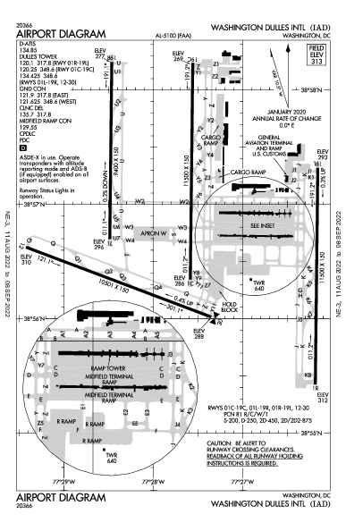 Washington Dulles Intl Airport (واشنطن العاصمة): KIAD Airport Diagram