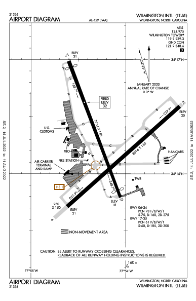 Wilmington Intl Airport (威尔明顿, 北卡罗来纳州): KILM Airport Diagram