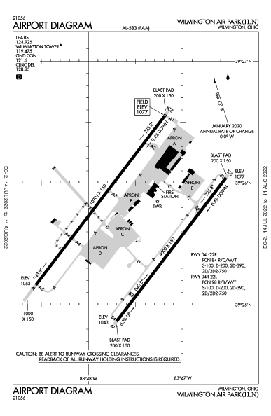 Wilmington Air Park Airport (ウィルミントン, オハイオ州): KILN Airport Diagram