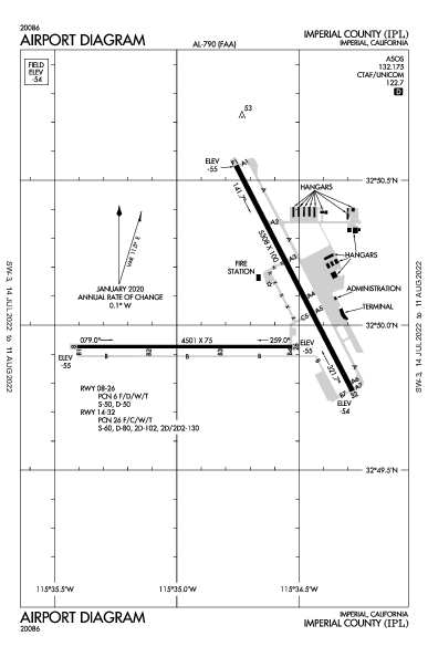 Imperial County Airport (Imperial, CA): KIPL Airport Diagram