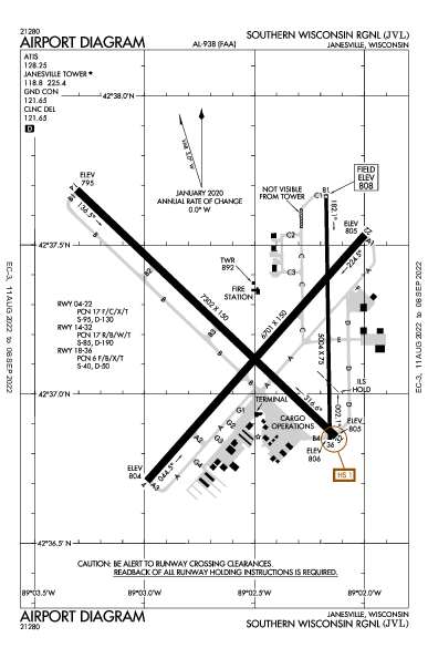 Southern Wisconsin Rgnl Airport (Janesville, WI): KJVL Airport Diagram