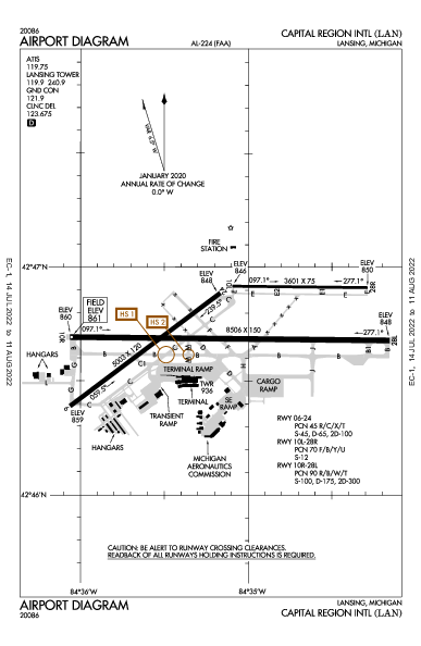 Capital Region Intl Airport (Lansing, MI): KLAN Airport Diagram