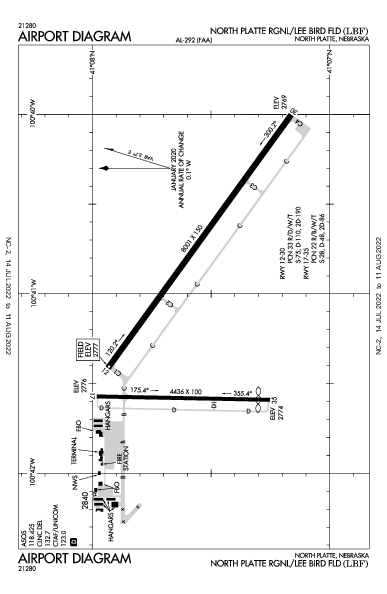 N Platte Rgnl Airport (North Platte, NE): KLBF Airport Diagram
