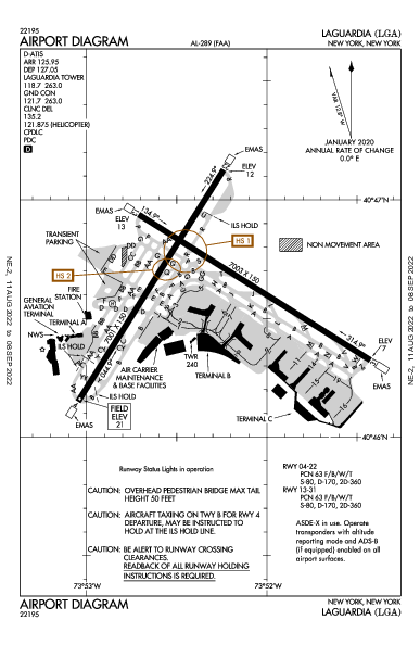 ラガーディア空港 Airport (New York, NY): KLGA Airport Diagram